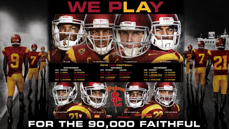 Click on the image to download your official USC Trojan Football desktop background. Matching the theme from the official posters, the background includes a home and away schedule of all football games this season. WE PLAY FOR THE 90,000 FAITHFUL.