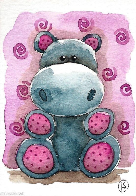 ACEO Original watercolor painting fantasy folk art whimsical animals grey hippo