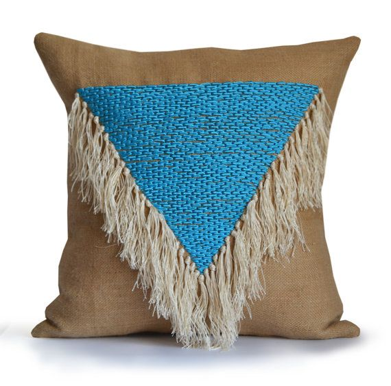 Burlap Pillows Shaggy Throw Pillow Cover Geometric by AmoreBeaute