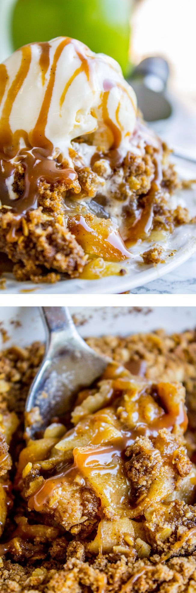 Apple Crisp, with a Ridiculous Amount of Streusel from The Food Charlatan. Am I the only one who thinks apple crisp never has enough streusel? I fixed that. Behold: the mother-load of streusel-y goodness right here. What better way to use up those fresh fall apples? Top with vanilla ice cream and My Favorite Caramel Sauce! You can also use peaches with this recipe in the summer time.
