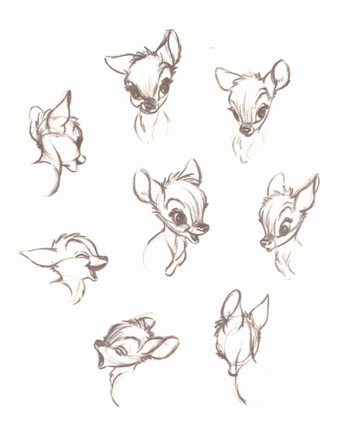 "disney concept sketches | More Expressions Concept Sketches From ""Walt Disney's Bambi: The ..."