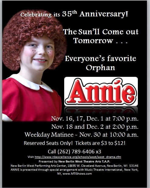 Annie nbw theatre arts program tap school district of new berlin