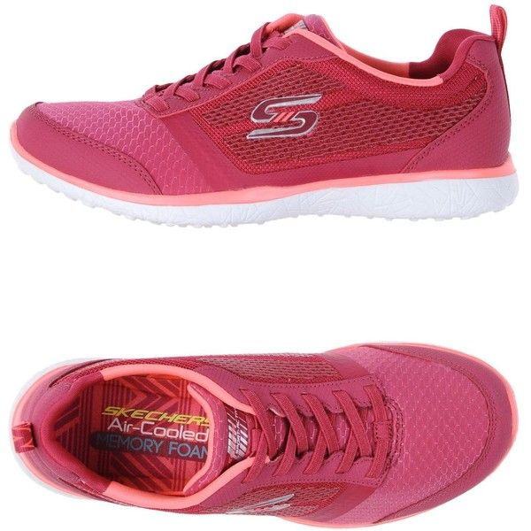 Skechers Sneakers (£39) ❤ liked on Polyvore featuring shoes, sneakers, fuchsia, logo shoes, skechers footwear, fuchsia shoes, round toe sneakers and round toe shoes
