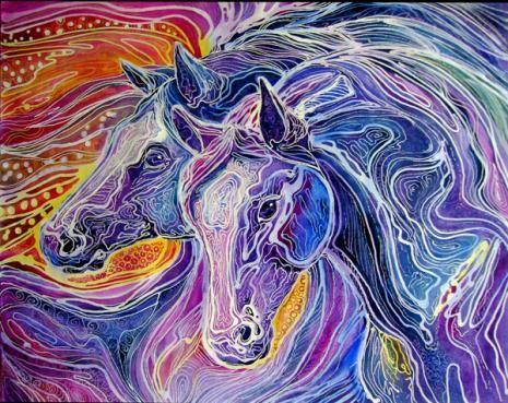 tryppi:  Horses in Art Batik - Marcia Baldwin