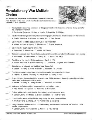 Revolutionary War Challenge - 8 pages of free Revolutionary War printables