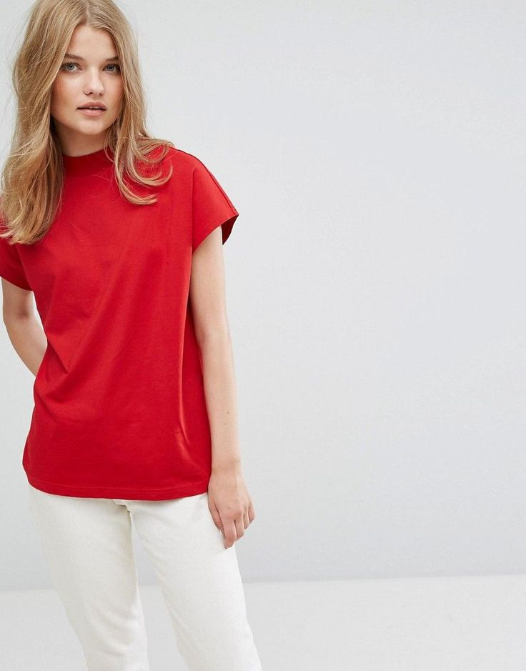 Weekday High Neck T-shirt - Red: T-shirt by Weekday, Cotton jersey, High  neck, Plain design, Regular fit - true to ...