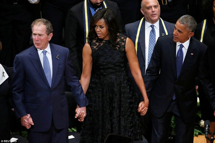 Former President George W. Bush was feeling the music at the memorial service for the five police officers who were killed last week in Dallas.