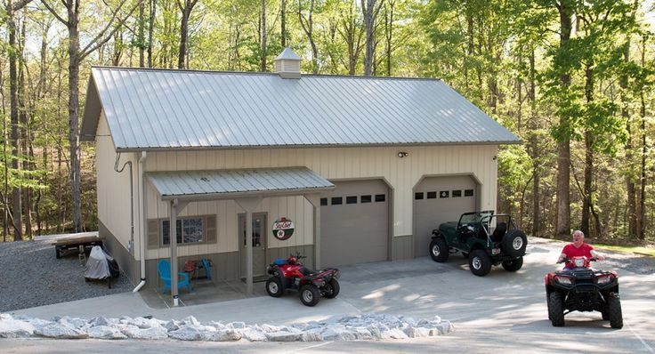 25 best ideas about pole barn packages on pinterest for Metal garage with porch