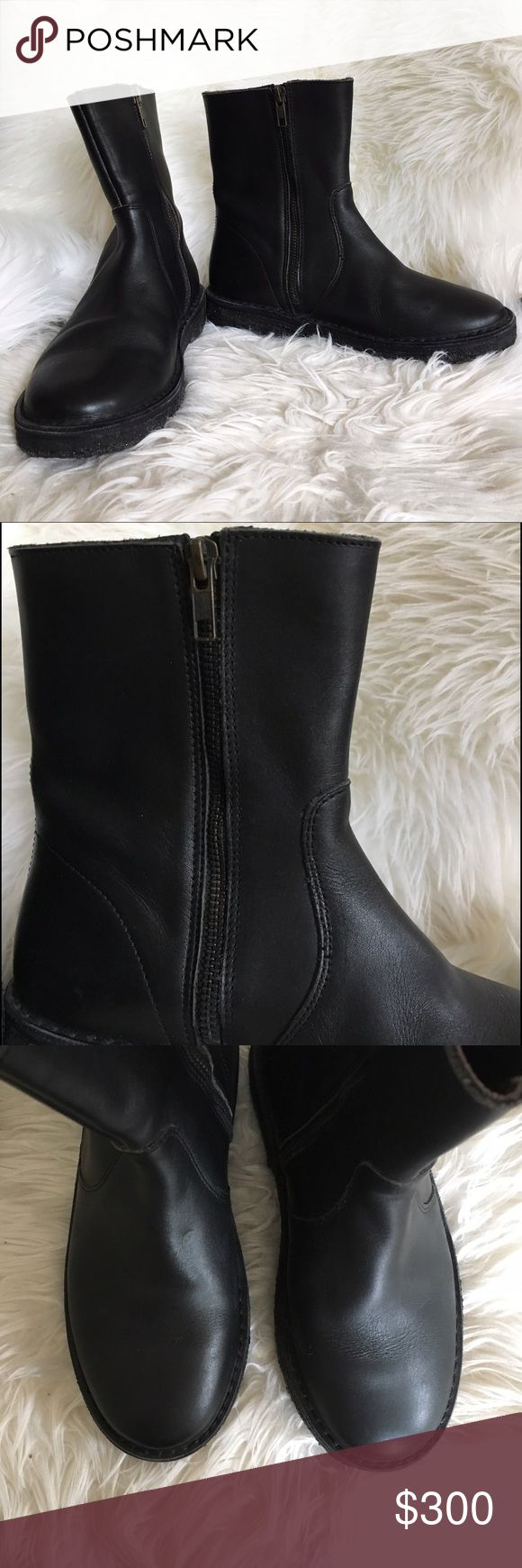 """NWOB A.P.C. Black leather boots Black leather upper and leather lined. Black gum sole has picked up some debris from storage but these have never been worn. Perfect condition. Shaft height 7"""" and 10"""" circumference. 1"""" sole A.P.C. Shoes Combat & Moto Boots"""