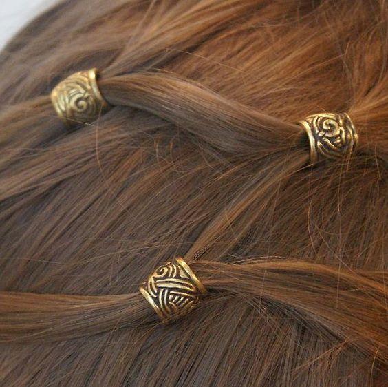 Perlen für Haar Perlen für Bart Perle für Dreadlocks Haar Accessoires Schmuck Mittelalter Wikinger heidnischen Schweden Elf Steampunk Bart Stile cosplay