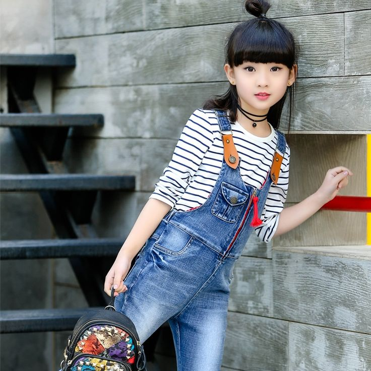 29.40$  Watch here - http://aixim.worlditems.win/all/product.php?id=32796277955 - Child Denim Overalls for Girl Jeans Pants Kids Brand Trousers Infant Spring Costume Children Casual Solid Jumpsuit 11 12 13 14 T