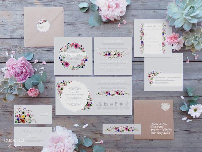 Découvrez le faire-part de mariage floral de Marlène et Sylvain sur le blog www.papiers-urbains.fr ©Oui Oui Studio