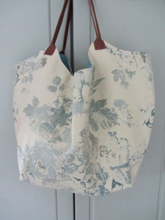 Large shoulder bag in Ralph Lauren fabric by FlaxandLoom on Etsy