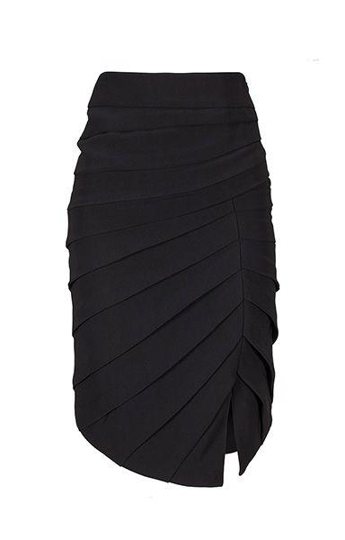 Saxony asymmetrical pleated skirt