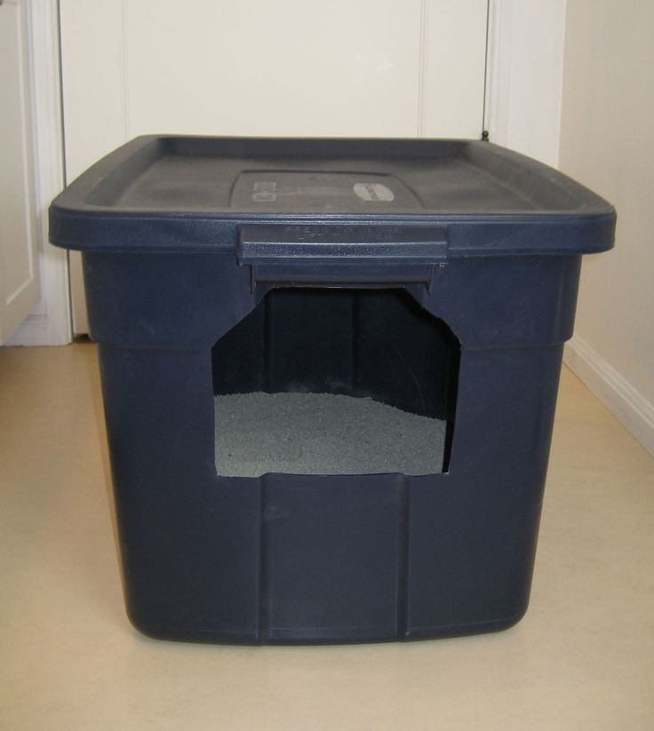 DIY: Make your own cat litter box. I made one of these but with the opening in the lid to prevent litter and urine escaping. (My cat pees standing up.) This is possibly the BEST idea EVER!!! We love it.