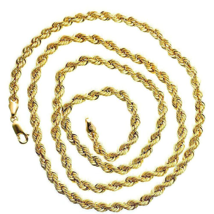 10K Yellow SOLID Gold Rope Chain Necklace 4MM wide. Real Gold Chain Rope. Chain Gold Necklace 10K. 4MM wide. Risk Free 30 Day Full Refund Policy. Largest Selection of Real Gold Chain Necklaces for Men and Women.