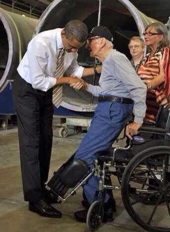 "When this 90 yr old vet started to stand up, Obama leaned in and told him he didn't have to stand. The old vet stood, saying, ""No sir, you're the president."" When will this country stop the partisan bickering and get to work? We need solutions now, more than ever, as we stand looking into a very bleak future."