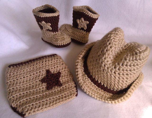 Crochet Cowboy Boots, Cowboy Hat & Diaper Cover - Baby Cowboy Hat