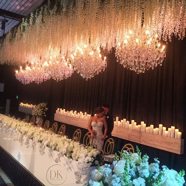 Breathtaking Wedding Decoration By Loving The Wisteria Like Ceiling Details And Grandeur Chandeliers That Create A Luxurious Ambience