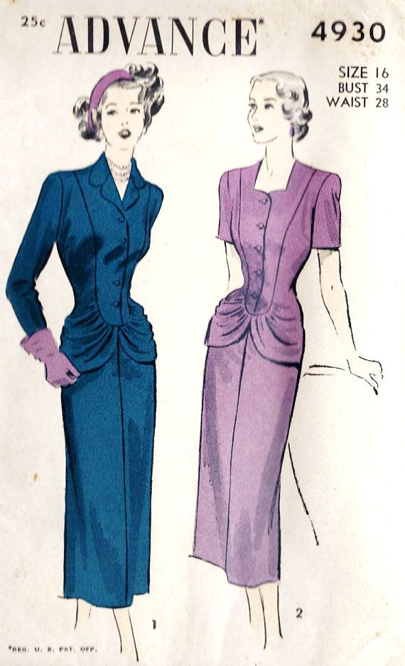 1940s Misses Suit - I adore that hourglass ruching at the hips!