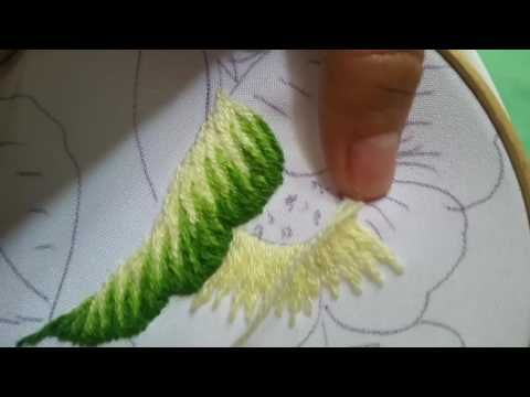Hand embroidery flower with combination of stitches shading with long and short stitch - YouTube