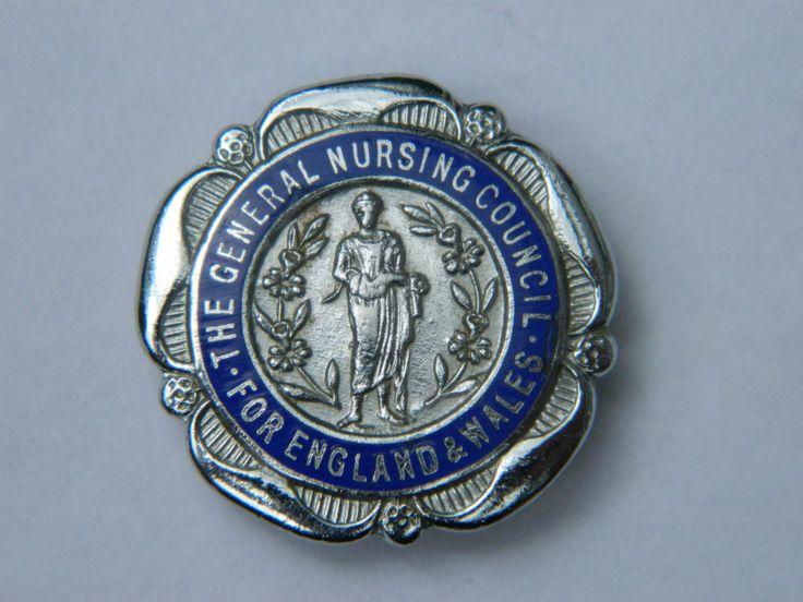 Vintage GENERAL NURSING COUNCIL Nurses Enamel Pin badge - Named - 1950's My dear friend Olive Heisey had one like this.