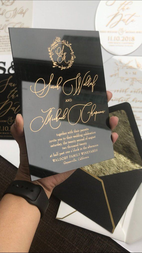 Black Acrylic gold WEDDING INVITATION clear perspex double sided modern wreath envelope liner printe