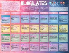 BLOGILATES PILATES BEGINNERS CALENDER. ALSO LISTS ALL VIDEO LINKS,NO MORE HAVING TO SEARCH FOR THEM!