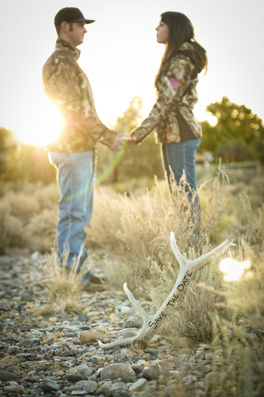Cute idea with antler. Different pose though. Save the Date with camo <3