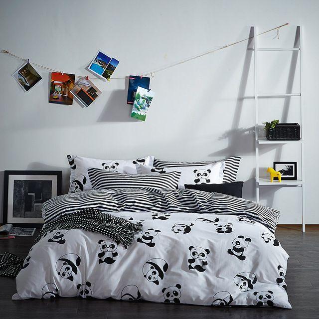 Nuova Serie B & W Panda Biancheria Da Letto di Stampa Reattiva 100% Cotone A Righe Biancheria Per La Casa 4 pz Copertine Trapunta Federe biancheria da letto