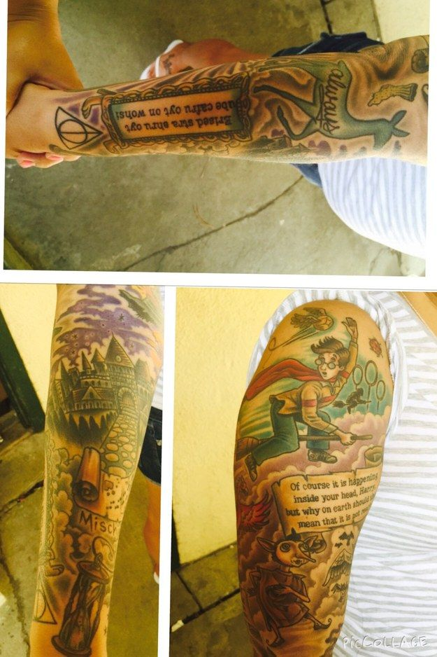 134 best tattoo images on pinterest hp tattoo harry for Harry potter sleeve tattoo