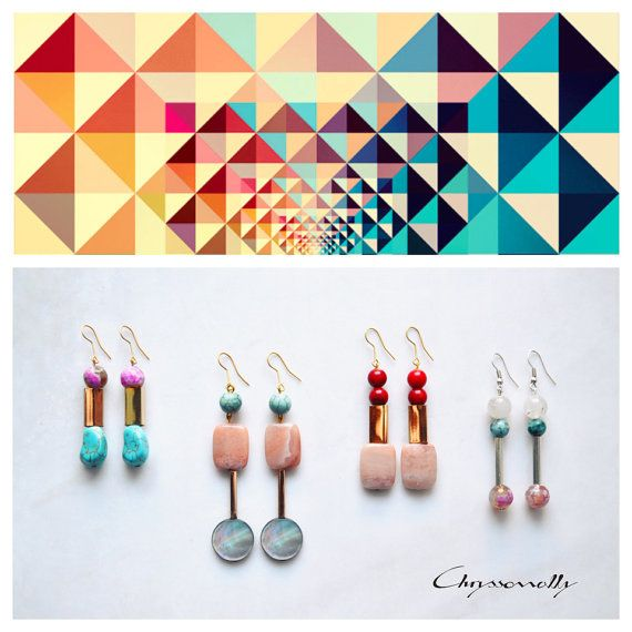 CGC010 - Gold geometric earrings with neon pink agate and turquoise chaolite stones