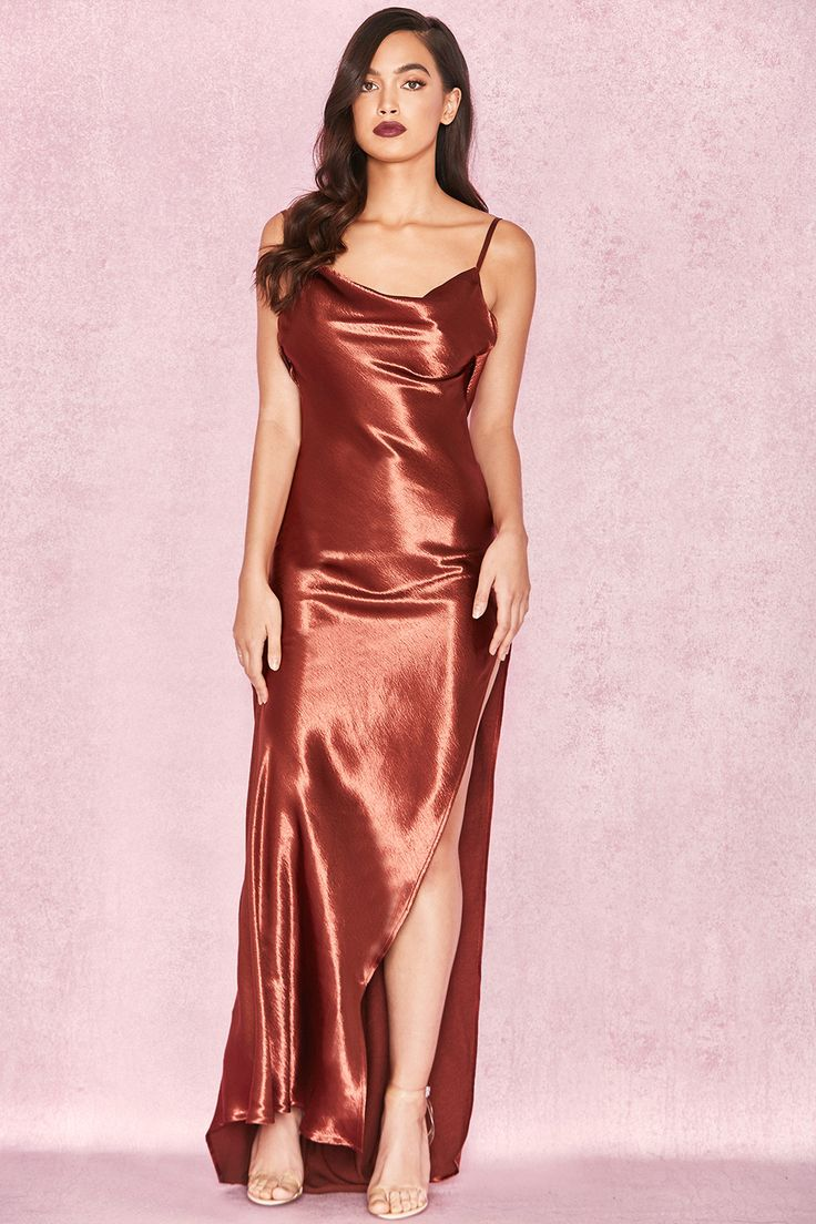 Clothing : Max Dresses : 'Tomasa' Bronze Satin Draped Maxi Dress