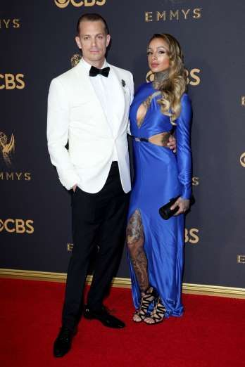 2017 Emmy Awards: The cutest couples on the red carpet - September 18, 2017:  Joel Kinnaman's wife, tattoo artist Cleo Wattenstrom, showed off her body art on the red carpet during the Emmys.