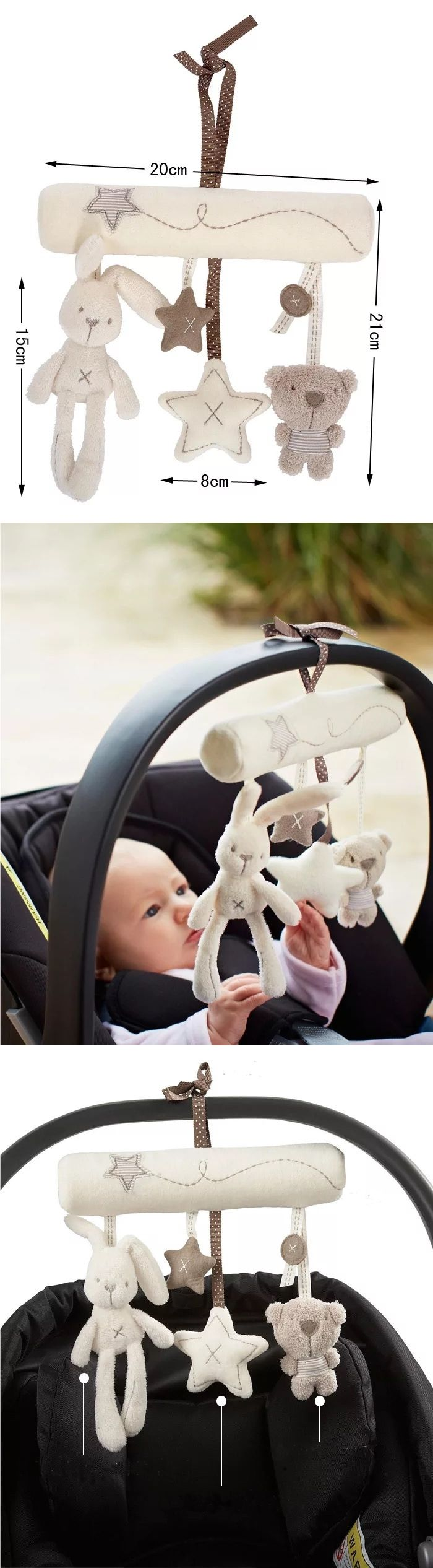 Baby Stroller Accessories Crib Musical Mobile Cot Bell Music Box with Holder Arm Baby Bed Hanging Rattle Toys Newborn Gift