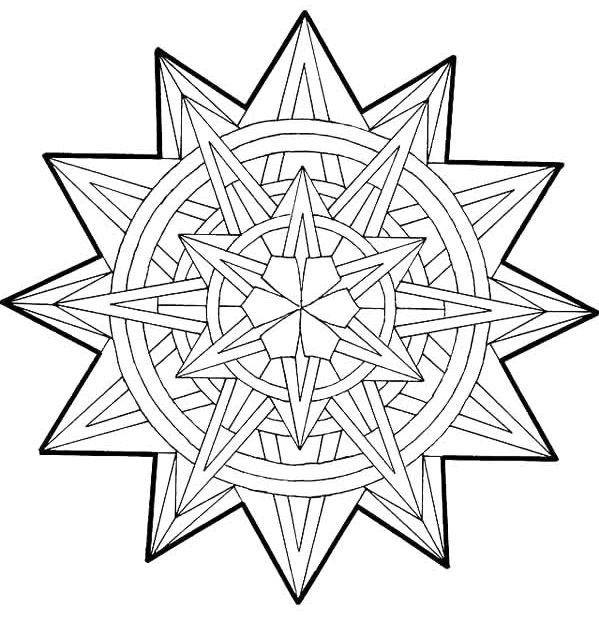 geometric 3d Colouring Pages | patterns, shapes ...