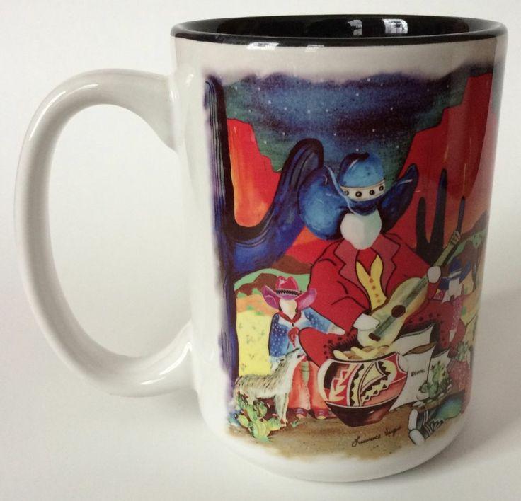 Lawrence Vargas Coffee Mug Cup Southwestern Art Desert Cactus 14 Oz