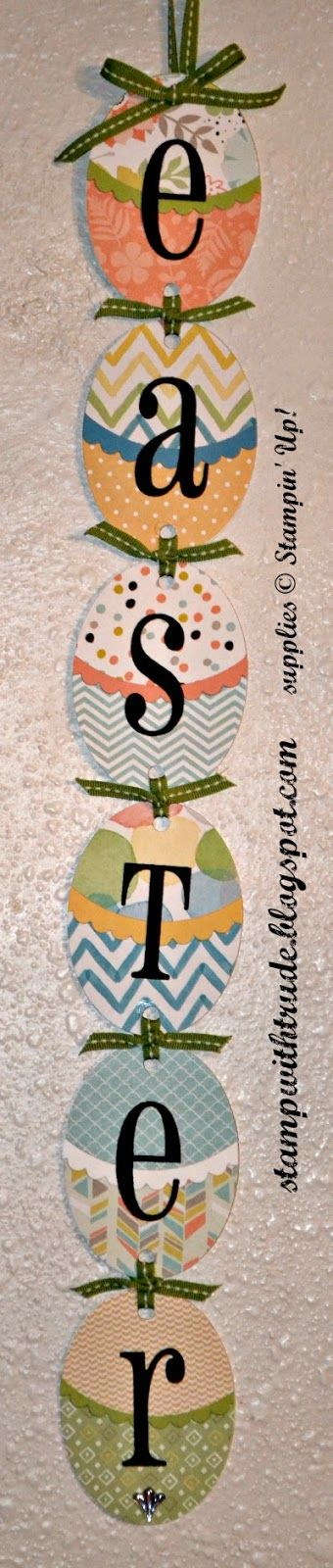 I used Maria Cameron's banner idea to make this updated version of the Stampin' Up! Easter banner.