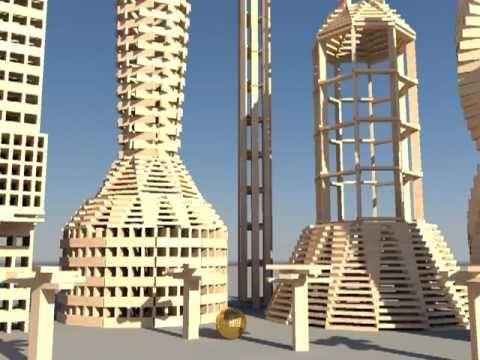 3000 KEVA planks in slow motion - destruction