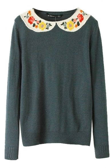 Dark Green Floral Embroider Round Neck Long Sleeve Sweater