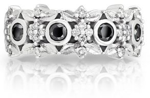 Signature ring from the Fine Jewellery by Jenna Clifford Collection mastercrafted in solid white gold (750) set with round brilliant cut black and white diamonds.