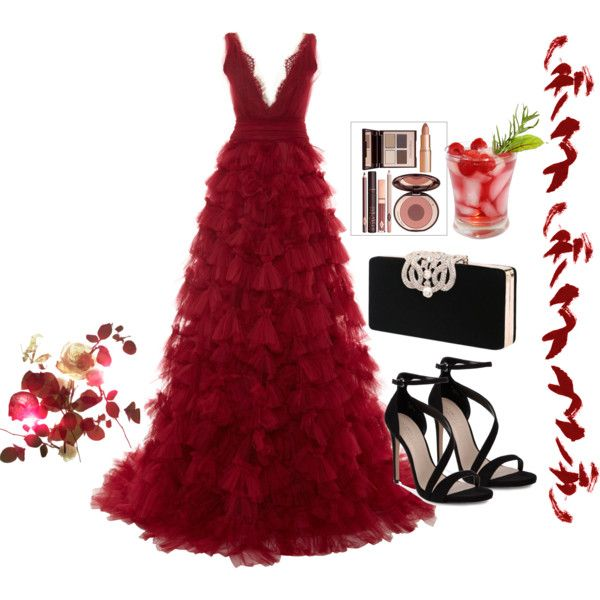 A fashion look from January 2015 featuring Marchesa gowns and Carvela sandals. Browse and shop related looks.