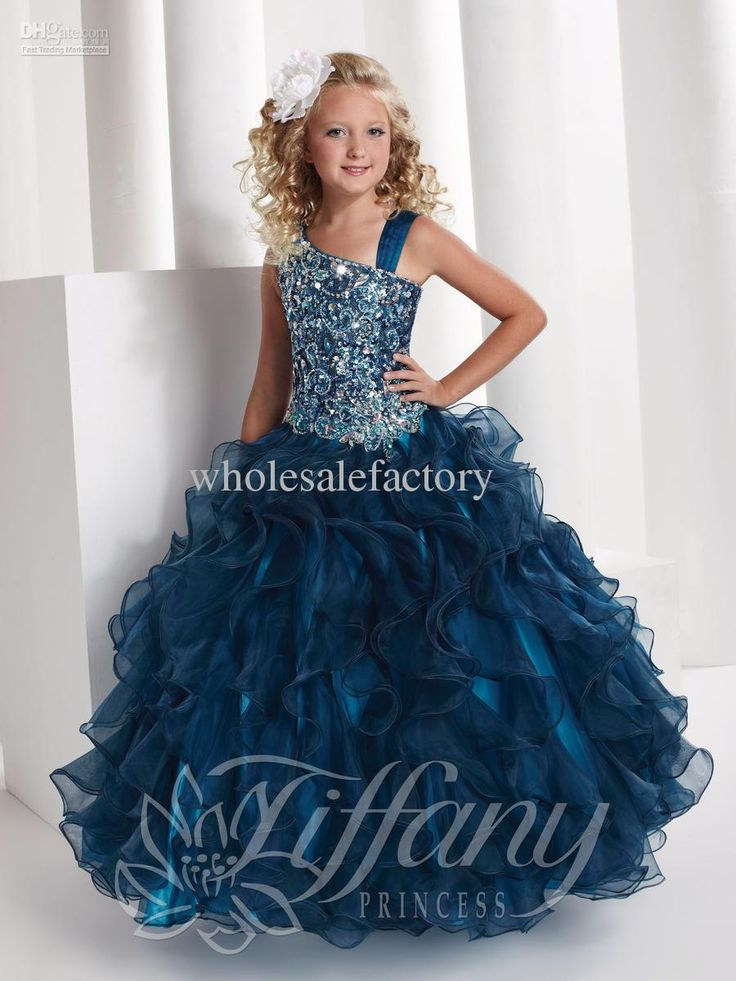 2016 Crystal Ball Gown Girls Pageant Dresses Square Neck