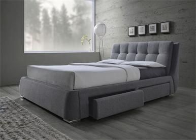 Checkout the Grey Fabric Platform Bed with Storage Drawers featuring 4 under bed storage drawers available in Queen and king size.