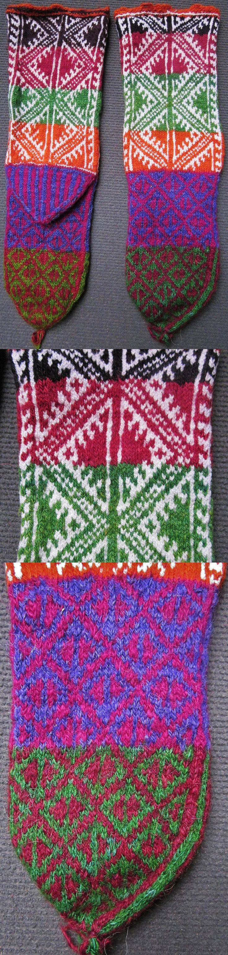 Traditional hand-knitted woollen stockings, for men.   From the Konya province.  Late 20th century.  The composite pattern shows various diamond-shaped 'ayna' (mirror), which are a protection against the evil eye. (Inv.nr. çor015 - Kavak Costume Collection - Antwerpen/Belgium).