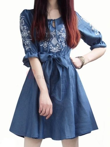 Pretty Flower Embroidery Half Sleeve Denim Bowknot Casual Dress on buytrends.com