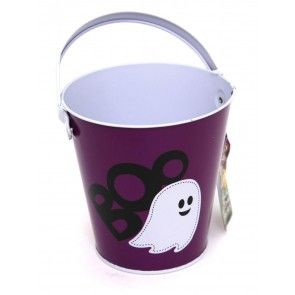 Haunted House Tin Trick Or Treat Halloween Candy Bucket - Childrens Trick Or Treating Metal Bucket With Handle - Purple Ghost