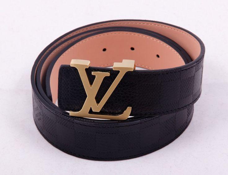 Ремень Louis Vuitton (Луи Витон) черный в рельефную клетку #19435