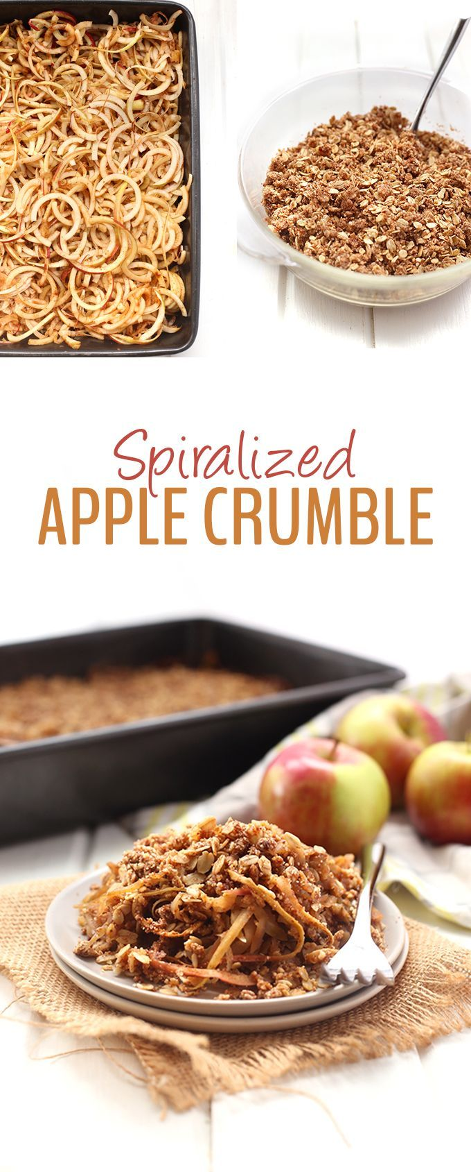 Instead of spending all your time chopping, spiralize those apples for a quick and healthy Spiralized Apple Crumble. With curly apple noodles and a crispy crumble layer this recipe will be a huge dessert hit!