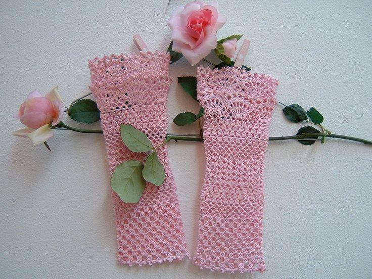 Manicotti in cotone rosa-Polsini in romantico pizzo all'uncinetto-Guanti da sposa e damigelle-Guanti senza dita-Polsini per matrimonio
